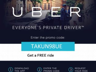 2018 Uber Promo Code | Official, Verified Coupon For Free Ride | Promo Code : TAKUN98UE